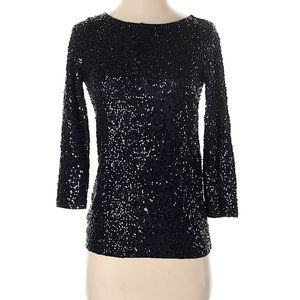 J.Crew Navy Sequin Boat Neck Top Size XS